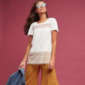 Deletta for Anthropologie Linen & Lace Tee